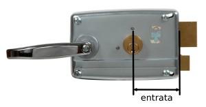 L'entrata è la distanza tra il centro del cilindro e la piastra da cui fuoriesce lo scrocco