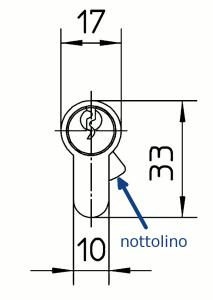 Il nottolino antisfilamento sporge fuori dalla sagoma del corpo quando si estrae la chiave, contrastando così i tentativi di sfilare il cilindro con la forza.