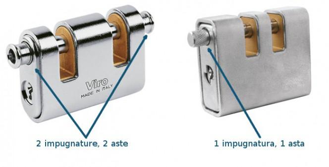Esistono anche lucchetti con due gole ma con una sola asta (e quindi una sola impugnatura) che non hanno tutti i vantaggi di un due aste.
