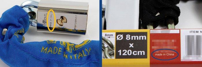blocca catena VS copia - made in