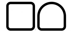 A sinistra la sezione quadra, caratterizzata da tutti gli angoli retti, a destra la sezione semiquadra, caratterizzata da una parte squadrata e da una tonda.