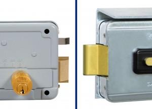 A sinistra nella foto lo scrocco e l'espulsore di una normale serratura elettrica, a destra il particolare catenaccio rotante Viro.