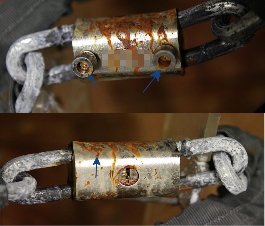 Numerosi punti di corrosione sulla copia, dopo il test di resistenza in nebbia salina.