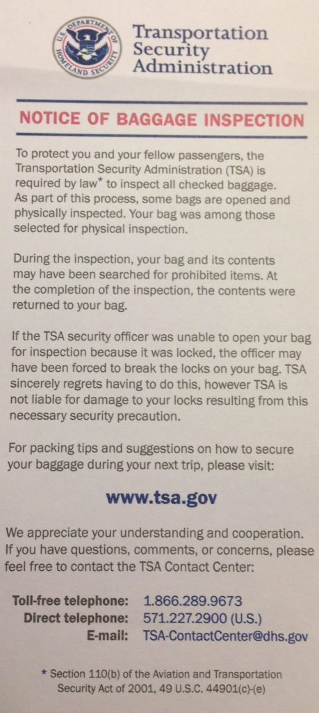Document issued by TSA Agency