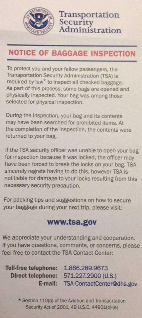 Documento rilasciato da Agenzia TSA