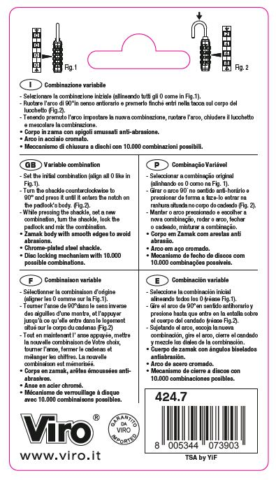 Operating Instructions for VIRO TSA padlock