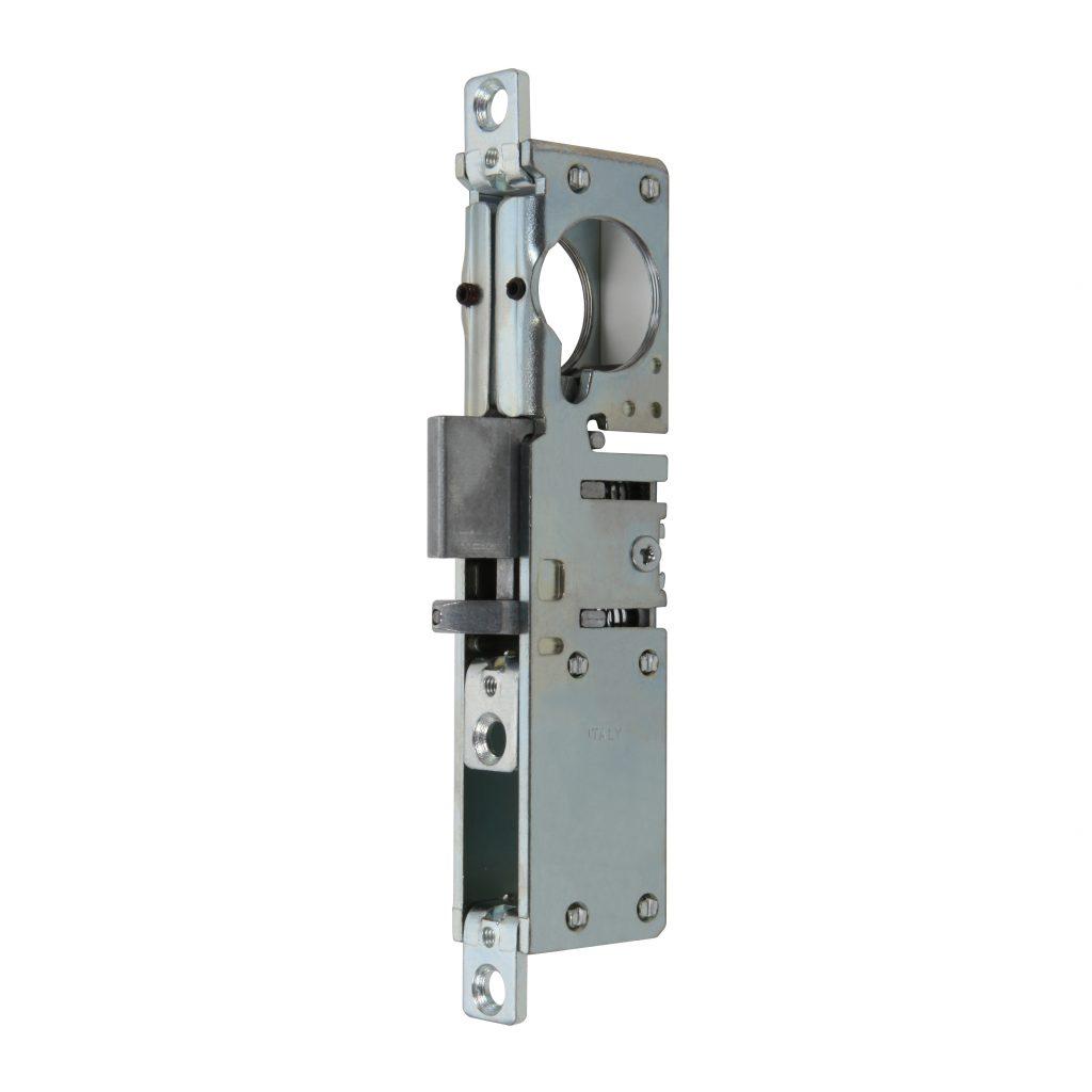 Serratura da infilare con scrocco reversibile autobloccante predisposto per cilindro tondo  art. 8516