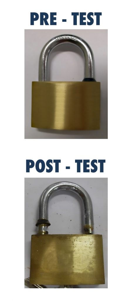 Candado Rectangular de importación antes y después de la prueba en niebla salina.