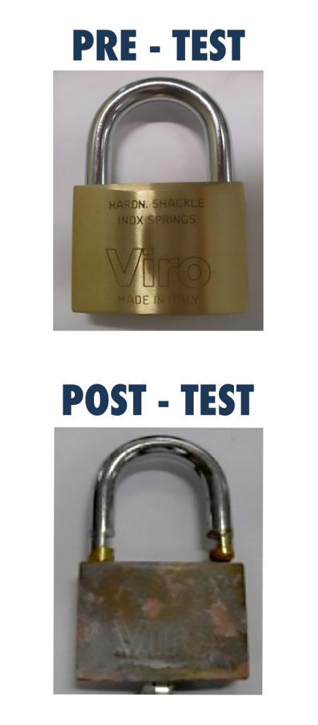 Candado Rectangular VIRO antes y después de la prueba en niebla salina.