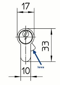 La leva antideslizamiento sobresale del perfil del cuerpo cuando se retira la llave, para contrarrestar así los intentos de extraer el cilindro por la fuerza.