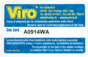 Una tarjeta de propiedad Viro codificada que permite copiar llaves sólo a su legítimo propietario.