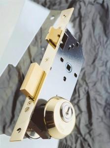 Cerradura con cilindro europeo protegido por escudo de seguridad.