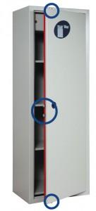 Los círculos muestran los cerrojos presentes en los 3 lados de los armarios de seguridad Viro.