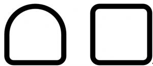 A la izquierda se puede ver la sección semicuadrada, caracterizada por una parte cuadrada y una redonda, y a la derecha la sección cuadrada, caracterizada por tener todos los ángulos rectos.
