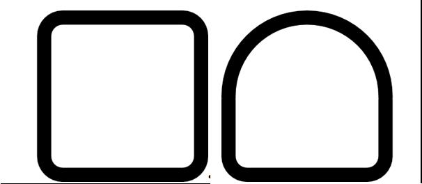 A la izquierda se puede ver la sección cuadrada, caracterizada por tener todos los ángulos rectos, y a la derecha la sección semicuadrada, caracterizada por tener una parte cuadrada y otra redonda.