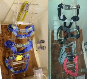 A la izquierda los productos originales Viro en la máquina de niebla salina antes de la prueba y a la derecha las imitaciones.