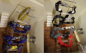 A la izquierda los productos originales Viro en la máquina de niebla salina después de la prueba y a la derecha las imitaciones.