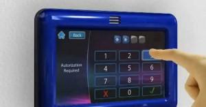 Ejemplo de introducción del código secreto en un teclado táctil.