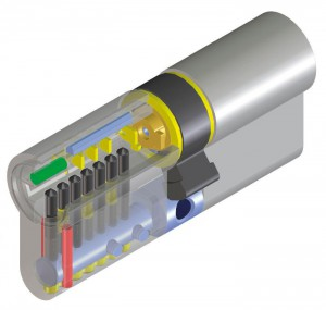 El cilindro de alta seguridad Viro Palladium. En rojo se destacan las clavijas a prueba de taladro en el cuerpo, y en verde la clavija a prueba de taladro en el tambor. En este caso también los pistones y los contrapistones (destacados en negro) tienen una función a prueba de taladro.