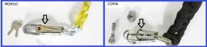 Comparación del candado Morso Viro con el candado de imitación después de la prueba de resistencia a los impactos.
